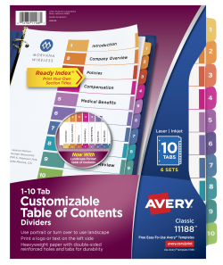 Avery Customizable Table Of Contents Dividers 10 Tab Multicolor