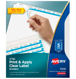 Avery Print Apply Dividers Index Maker Easy Apply Clear Label - Avery print on tabs template