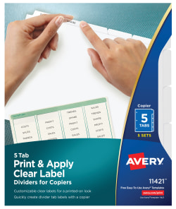 graphic regarding Clear Printable Paper identify Avery® Print Put into practice Obvious Label Dividers, Index Maker® Basic Peel® Printable Labels for Copiers, 5 White Tabs, 5 Sets (11421)