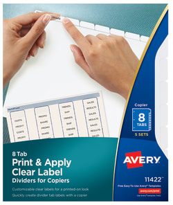 avery print apply dividers 8 tabs 5 sets 11422 avery com
