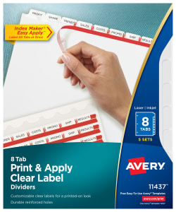 photo about Avery Printable Tabs identified as Avery® Print Employ Distinct Label Dividers, Index Maker® Uncomplicated Apply™ Printable Label Strip, 8 White Tabs, 5 Sets (11437)