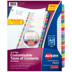 5 Sets Avery Ready Index Table of Contents Dividers 26-tab 1 Set 11125