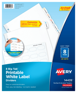 photograph about Avery Printable Tabs referred to as Avery® Significant Tab™ Printable Label Dividers, Straightforward Peel®, 8 Tabs, 20 Sets (14435)