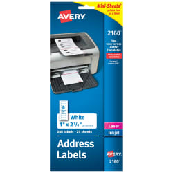 avery mini sheets address labels 1 x 2 5 8 200 labels 2160