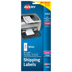 Avery Mini Sheets Shipping Labels 2 X 4 100 Labels 2163 Avery