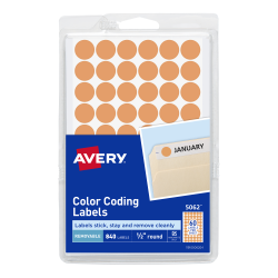 avery removable color coding labels neon orange 1 2 diameter 840