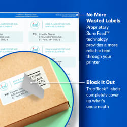 Avery Trueblock Shipping Labels Sure Feed Technology Permanent Adhesive 3 1 2 X 5 400 Labels 5168