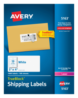 avery shipping labels trueblock technology permanent adhesive 2 x 4 1000 labels 5163