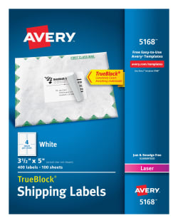 Avery shipping labels permanent adhesive 400 labels 5168 avery media1 pronofoot35fo Gallery