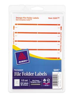 Avery® File Folder Labels, Permanent Adhesive, Orange, 1/3 Cut, 252 Labels  (5205)