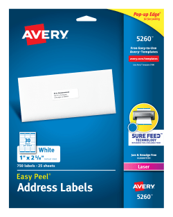 avery easy peel address labels 1 x 2 5 8 750 labels 5260