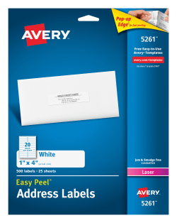 Avery easy peelreg address labels 1quot x 4quot 500 labels media1 pronofoot35fo Gallery