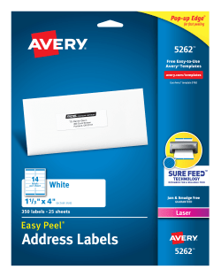avery easy peel address labels 1 1 3 x 4 350 labels 5262