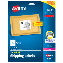 Avery Trueblock Shipping Labels Sure Feed Technology Permanent Adhesive 3 1 3 X 4 150 Labels 5264