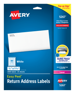 avery easy peel return address labels 1 2 x 1 3 4 2 000 labels