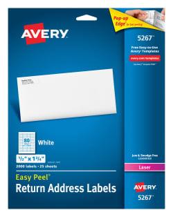 Avery easy peel return address labels 12 x 1 34 2000 labels avery easy peel return address labels permanent adhesive 12 x 1 34 2000 labels 5267 saigontimesfo