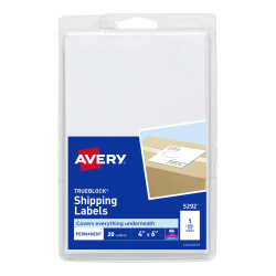 avery shipping labels permanent adhesive 20 labels 5292 avery com