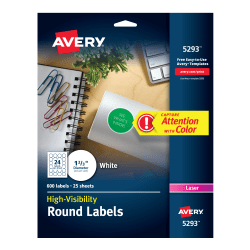 avery high visibility labels 1 2 3 diameter 600 labels 5293