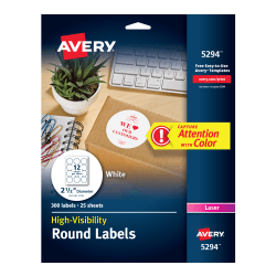 Avery high visibility labels 300 labels 5294 avery avery high visibility labels 2 12 diameter 300 labels 5294 saigontimesfo