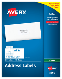 avery address labels for copiers 1 1 2 x 2 13 16 2 100 labels 5360
