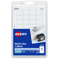 avery removable labels 1 2 x 3 4 000 labels 5418 avery com