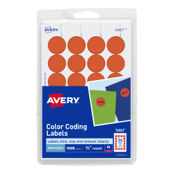 avery removable color coding labels neon red 1 008 labels 5467