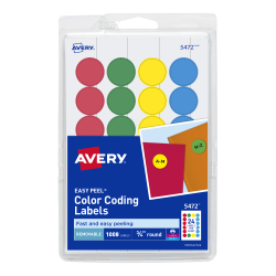 Avery Removable Color Coding Labels Assorted Colors 1008