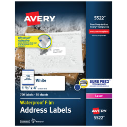Waterproof Labels With Ultrahold Permanent Adhesive Sure Feed Trueblock Laser 300 Labels 3 1 3 X 4 5524 Avery Com