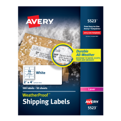 avery weatherproof mailing labels permanent adhesive 500 labels