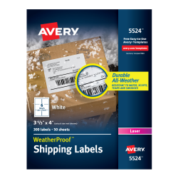 Avery WeatherProof Mailing Labels Permanent Adhesive 300 Labels ...