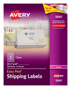 avery easy peel shipping labels 300 labels clear 5664 avery com