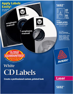 avery cd labels permanent adhesive 40 disc labels and 80 spine