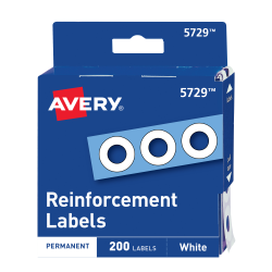 Avery® Self-Adhesive Reinforcement Labels, 1/4