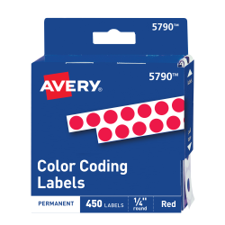 avery color coding labels red 1 4 diameter 450 labels 5790
