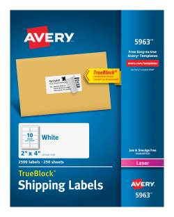 Avery 5963 shipping labels permanent adhesive 2500 labels avery avery shipping labels trueblock technology permanent adhesive 2 x 4 2500 labels 5963 saigontimesfo