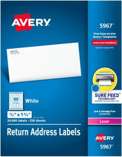 avery return address labels 1 2 x 1 3 4 20 000 labels 5967