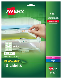 picture relating to Removable Printable Labels named Avery® Detachable Identification Labels, Detachable Adhesive, 1/2\