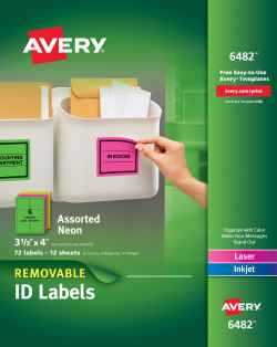 graphic regarding Removable Printable Labels referred to as Avery® Detachable Labels, Detachable Adhesive, Different Neon Hues, 3-1/3\