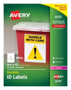 avery durable id labels 8 1 2 x 11 50 labels 6575 avery com