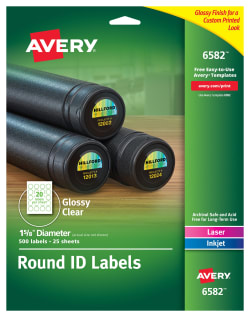 Avery® Round Labels, Permanent Adhesive, Glossy, Clear, 1-5/8