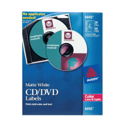 avery cd dvd label print to the edge 30 disc labels and 60 spine