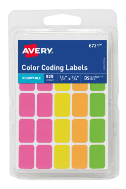 avery removable color coding labels assorted neon colors 1 2 x 3 4