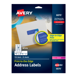 avery return address labels permanent adhesive 750 labels 6870