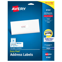 avery easy peel address labels sure feed technology permanent adhesive 1 x 2 58 750 labels 8160