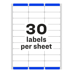 avery easy peel address labels 1 x 2 5 8 750 labels 8160