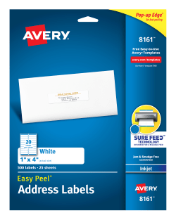 avery easy peel address labels 1 x 4 500 labels 8161 avery com