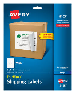 avery shipping labels trueblock technology permanent adhesive 8 12 x 11 25 labels 8165