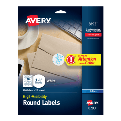 avery high visibility labels permanent adhesive matte 1 12 diameter 400 labels 8293