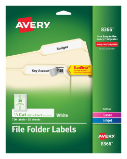avery file folder labels permanent adhesive 750 labels 8366