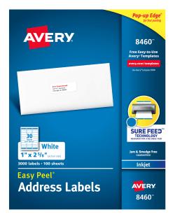 avery easy peel address labels 1 x 2 5 8 3 000 labels 8460